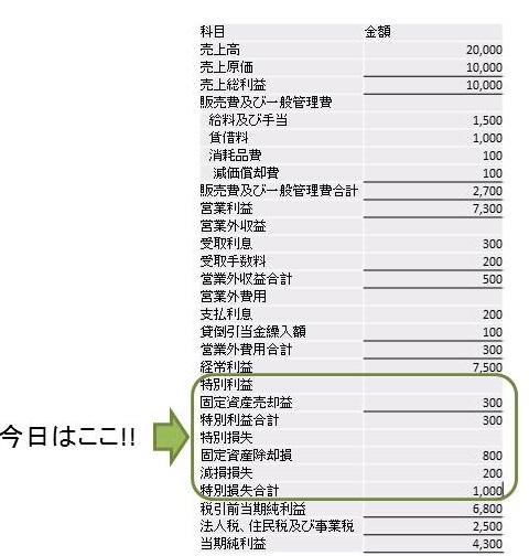 損益計算書の特別損益の説明